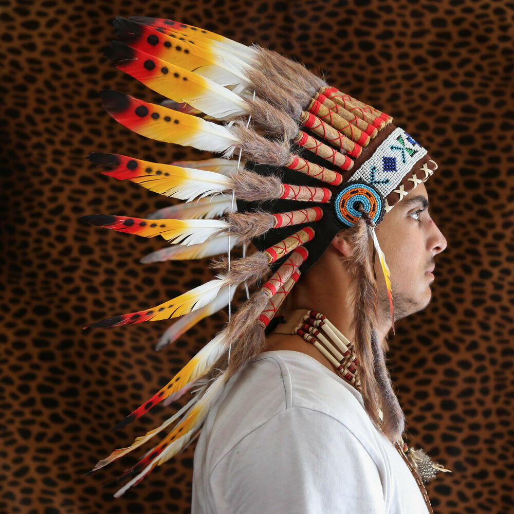Chief indian headdress 65cm feathers native american costume war