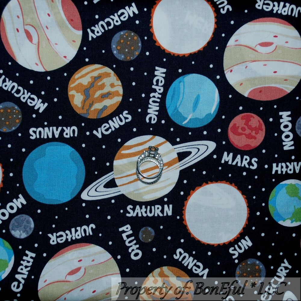 Boneful fabric fq cotton quilt b w earth space planet sky for Space baby fabric