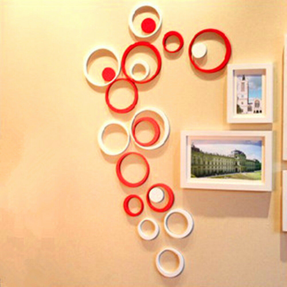 Fashion Decor 5 Circles Ring Indoor 3d Wall Art Home Decoration Diy Creativite Ebay