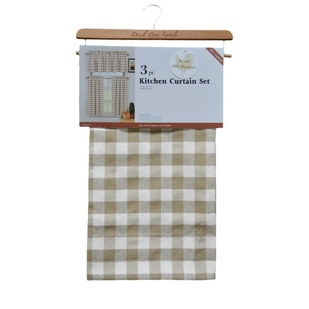 3 Piece Plaid Checkered Gingham Kitchen Curtain Set W 1