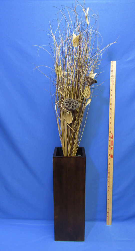 Large wood wooden vase w tall grass pods stocks