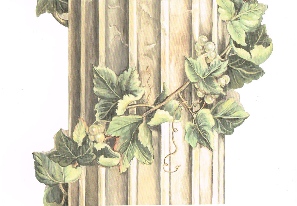 Tuscan Tuscany Stone Flutted Column Grape Vine Mural Wall