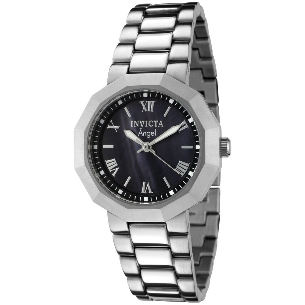 New ladies invicta 0543 angel stainless steel black mop dial swiss quartz watch ebay for Stainless watches