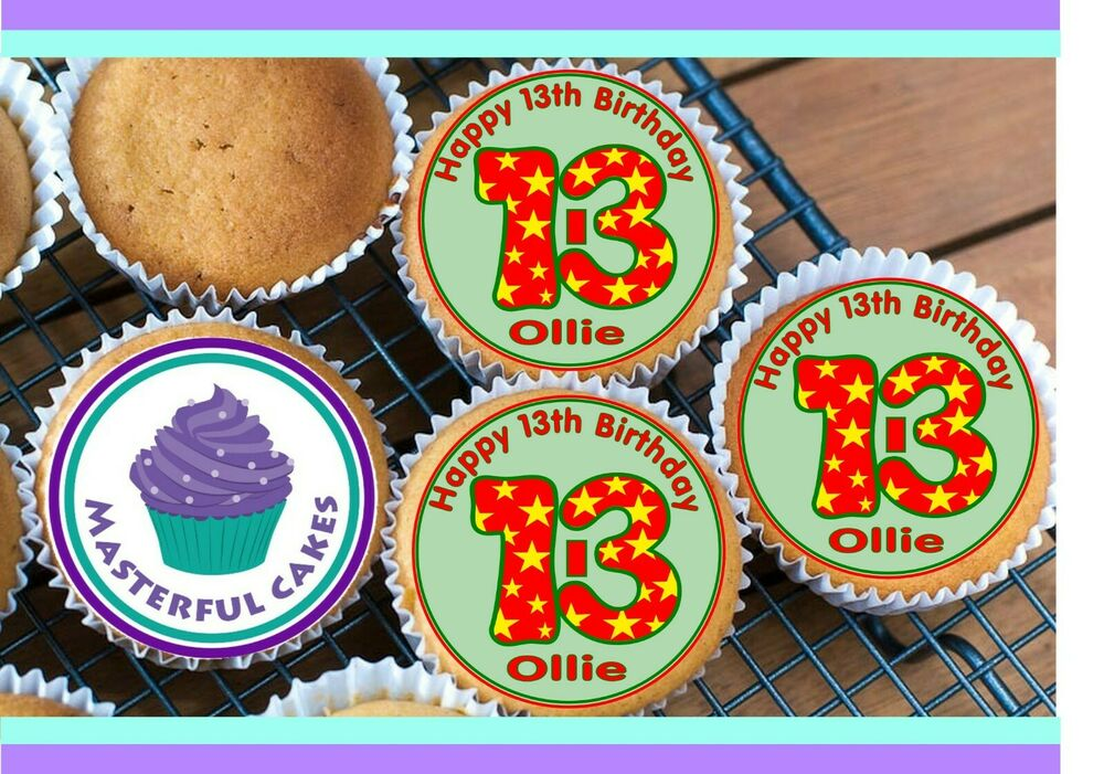 24 PERSONALISED 13th BIRTHDAY EDIBLE RICE PAPER CUP CAKE ...