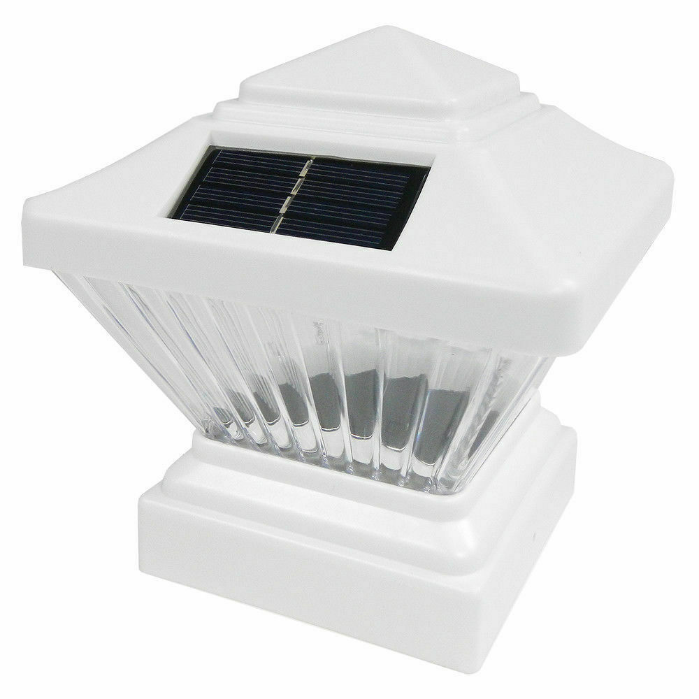 white color square solar light post cap 4x4 pvc fence style ebay. Black Bedroom Furniture Sets. Home Design Ideas