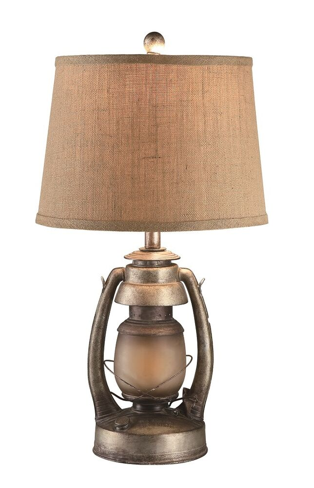 Vintage Oil Lantern Table Lamp With Night Light Burlap