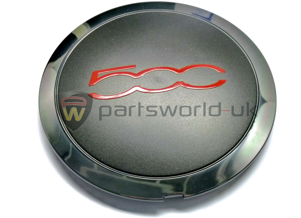 fiat 500 s sport gt alloy wheel centre cap with red trim. Black Bedroom Furniture Sets. Home Design Ideas