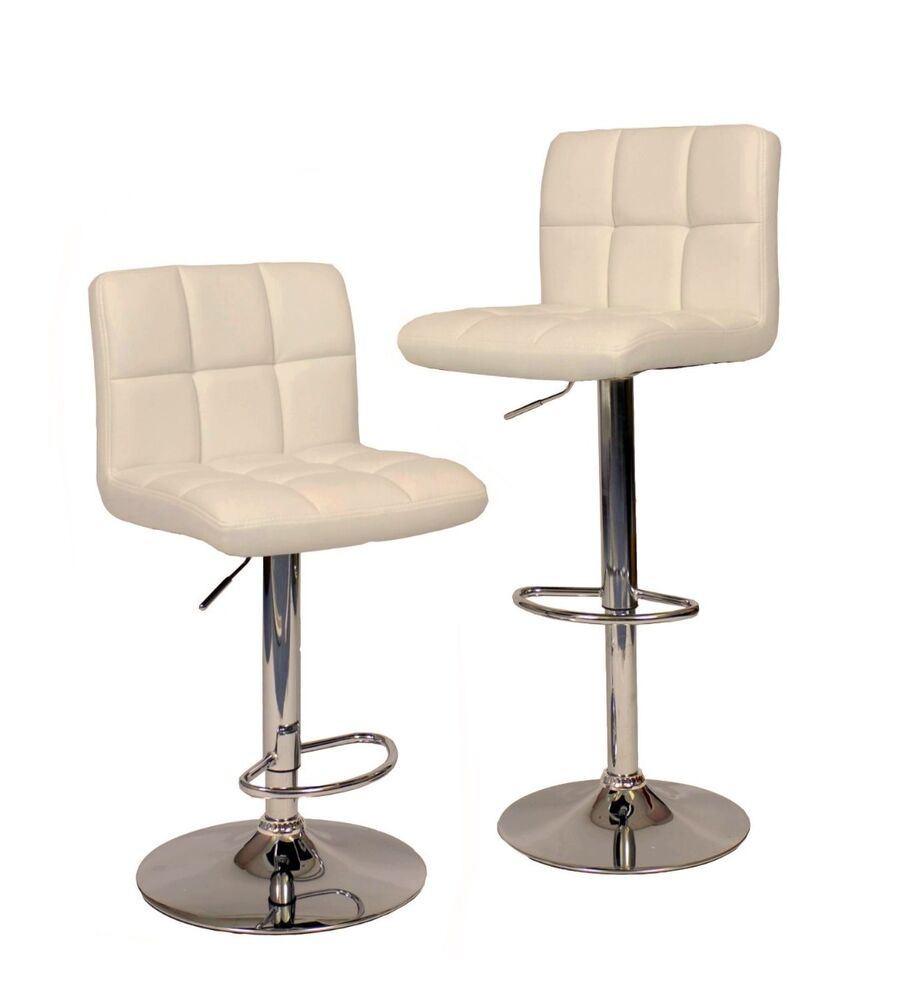 2 White Modern Bar Stool Pu Leather Adjustable Swivel