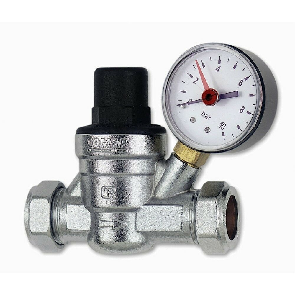pressure reducing valve c w gauge 15mm 22mm new ebay. Black Bedroom Furniture Sets. Home Design Ideas