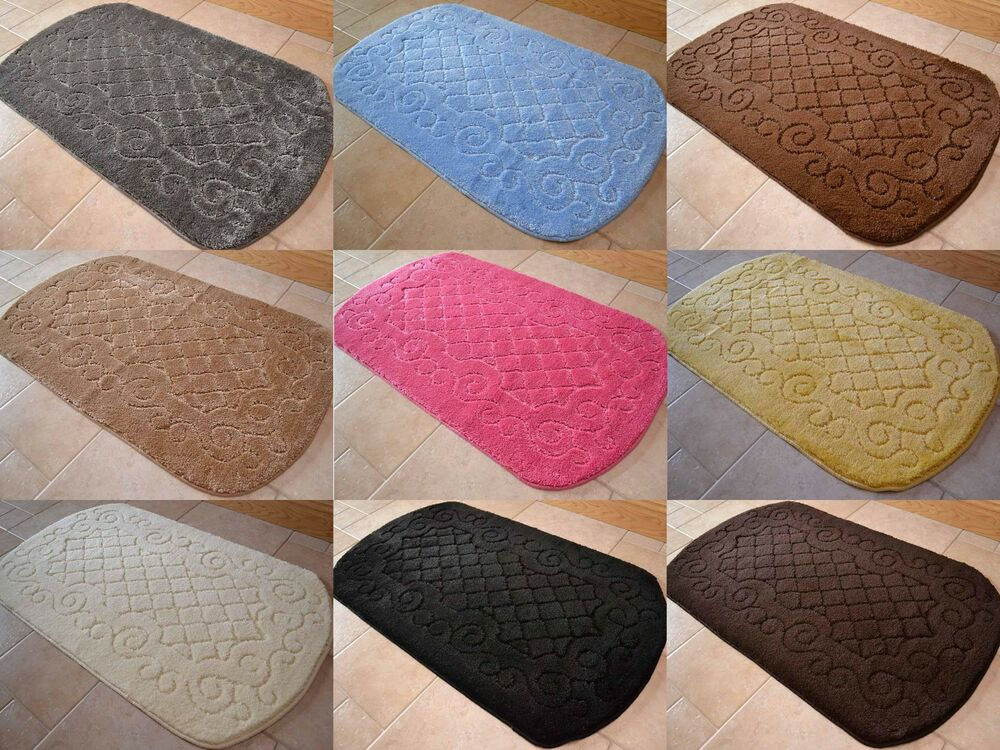 New Thick Soft Pile Oval Shaped Machine Washable Non Slip Bath Bathroom Mat Rugs Ebay