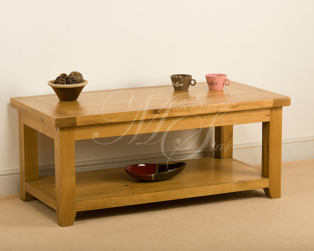 Msl Solid Wood Chunky Oak Large Coffee Table With Shelf Ebay