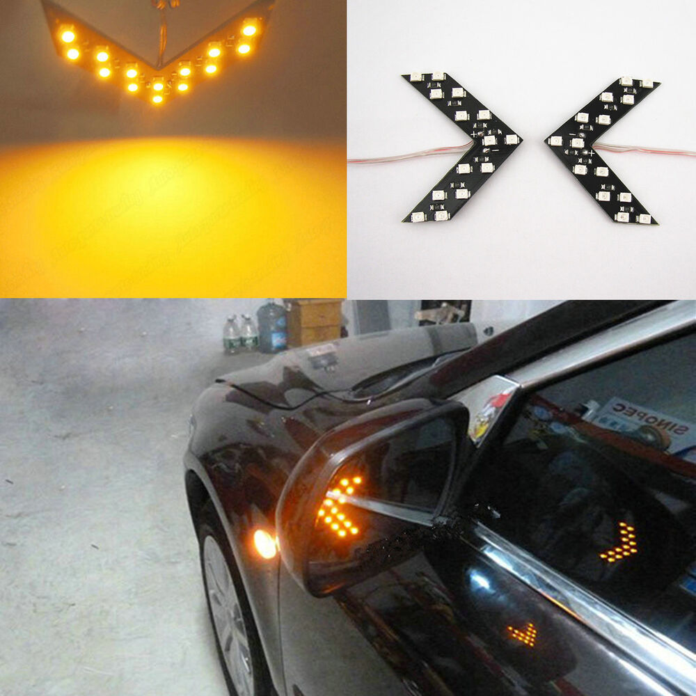 Yellow 14 Smd Led Arrow Panels For Car Side Mirror Turn
