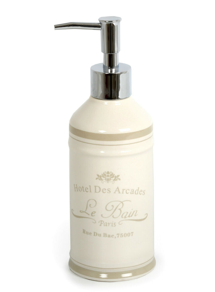 Paris le bain soap dispenser french chic bathroom accessories ebay for French themed bathroom accessories
