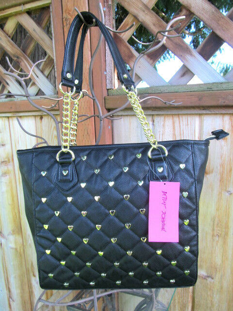 Betsey Johnson Betseyville Quilted Tote Handbag Black W