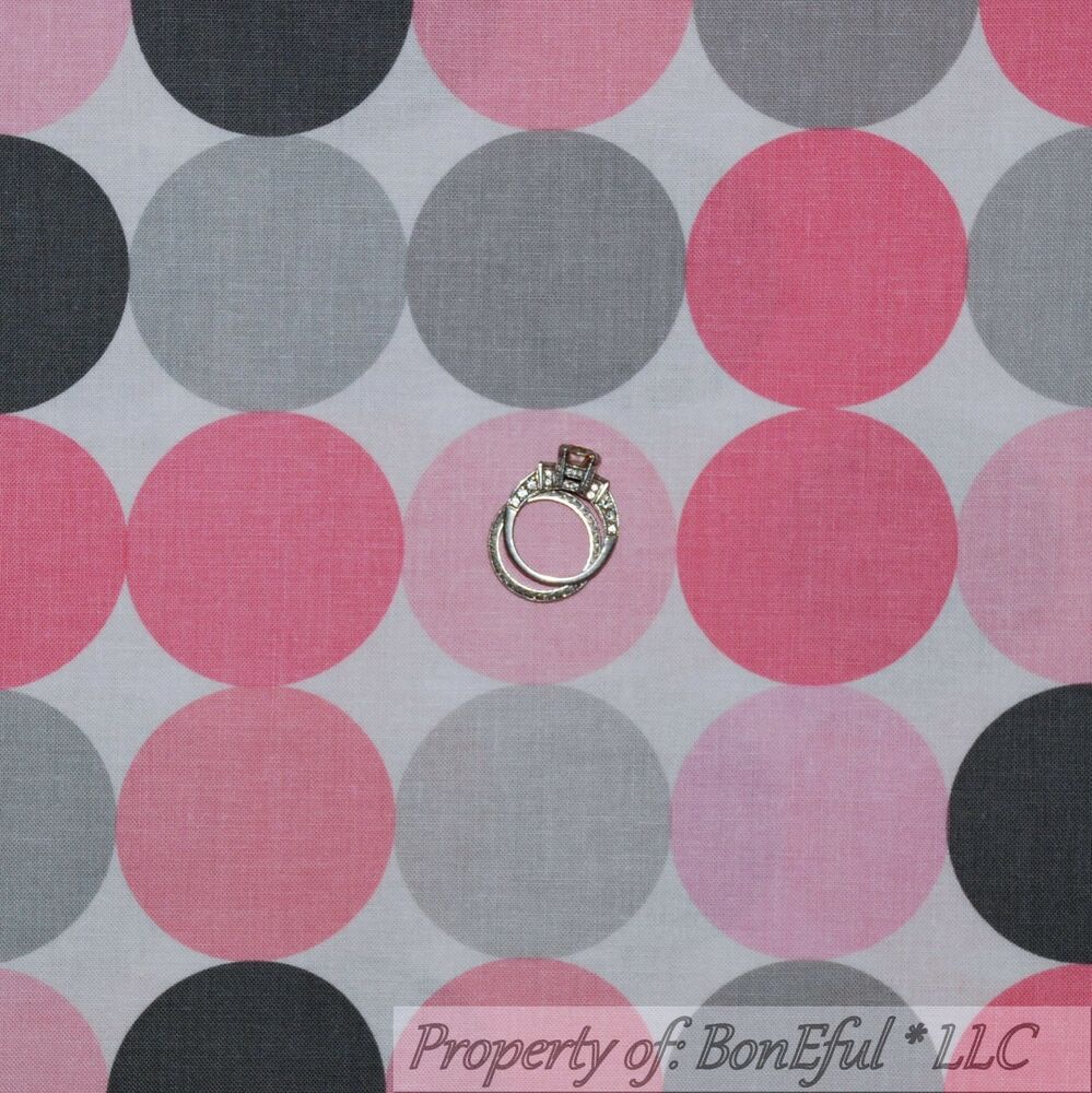 Boneful fabric fq cotton quilt white pink gray baby for Pink nursery fabric