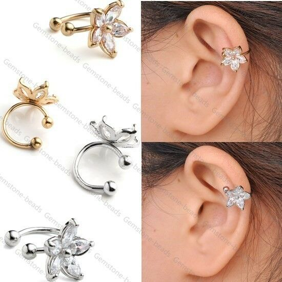 helix cuff earrings cubic zirconia gem flower bar clip on ear stud cuff 4430