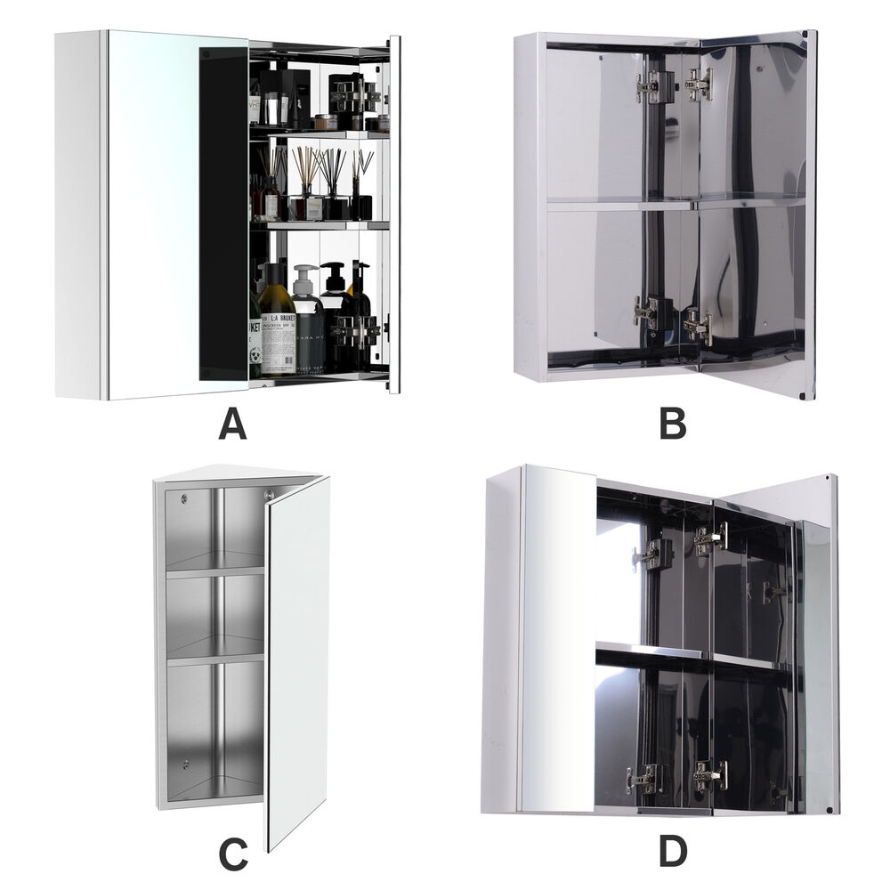 Wall Mounted Bathroom Mirror Glass Storage Stainless Steel