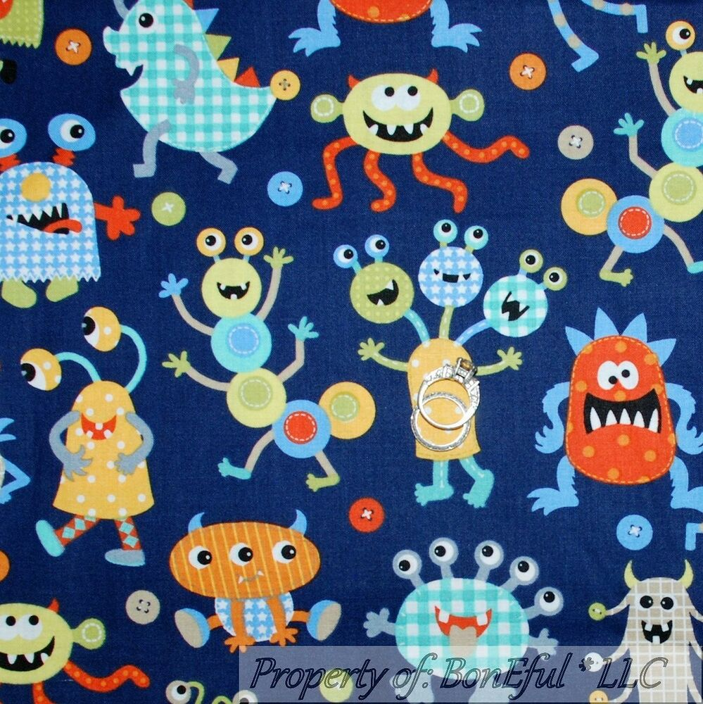 Boneful fabric fq cotton quilt blue orange green vtg baby for Baby monster fabric