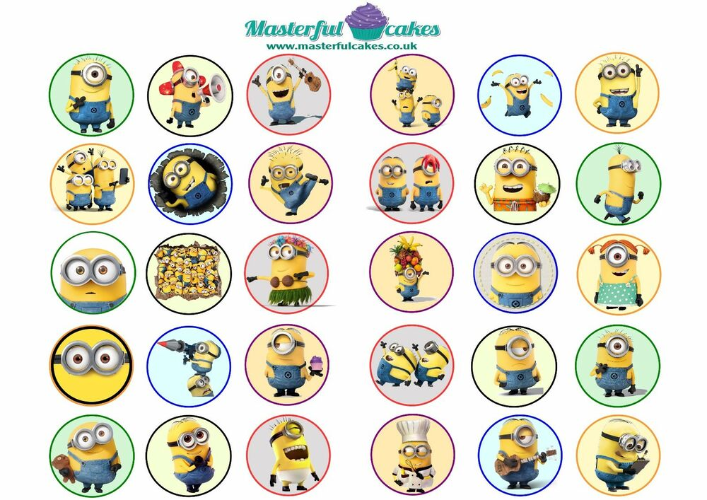 30 x minion edible wafer icing cup cake topper ebay for Advanced molding and decoration s a de c v