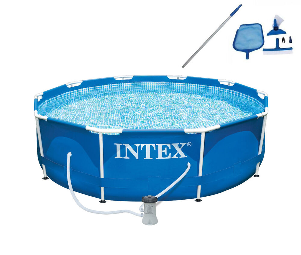 intex 10 39 x 30 metal frame set swimming pool with filter pump maintenance kit ebay. Black Bedroom Furniture Sets. Home Design Ideas