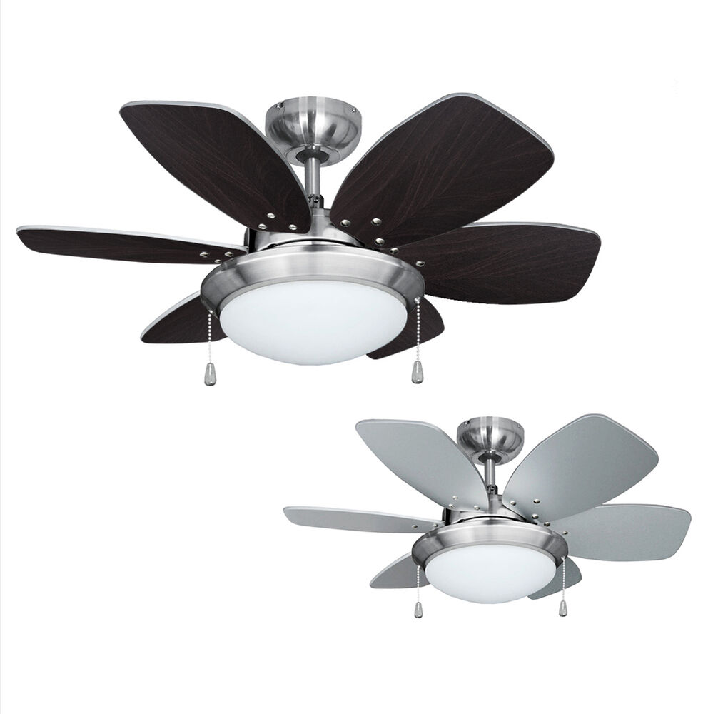 Modern 3 Speed Silver / Brushed Chrome 6 Blade Ceiling Fan