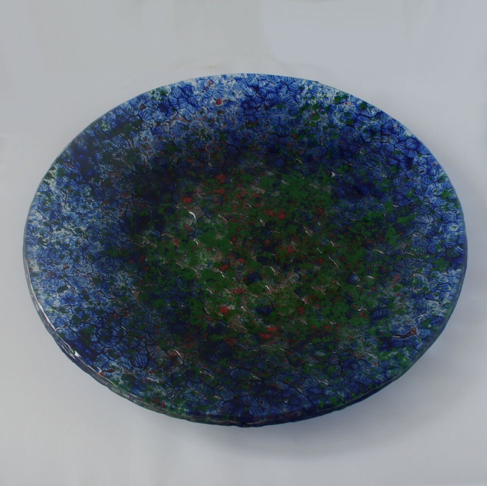 Handmade glass plates choice of colour blue green or