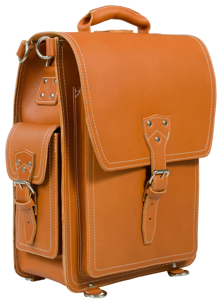 Hideonline Tan Vegetable Tanned Leather Large Backpack