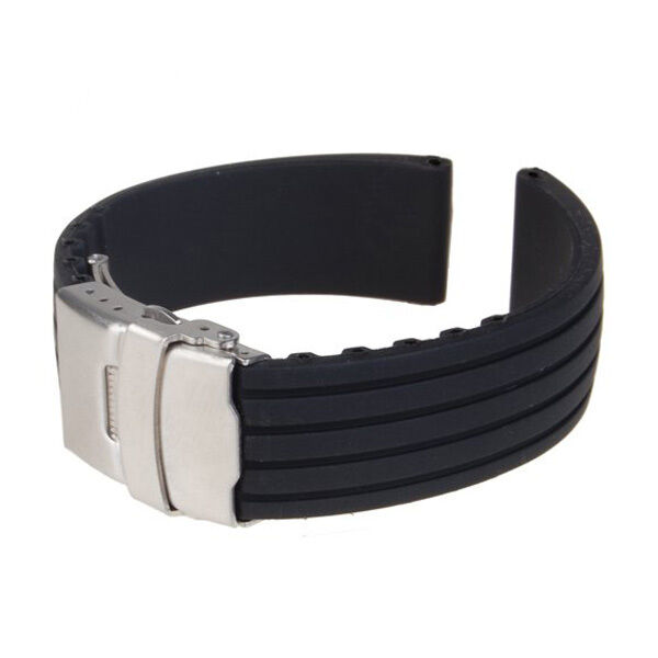 Black Silicone Rubber Watch Strap Band Deployment Buckle