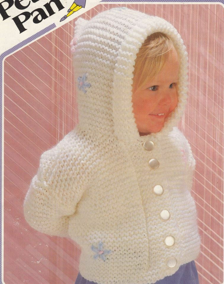 Chunky Knit Baby Cardigan Pattern Free : Knitting Pattern Baby Girls Chunky Hooded Cardigan with Flowers Detail eBay