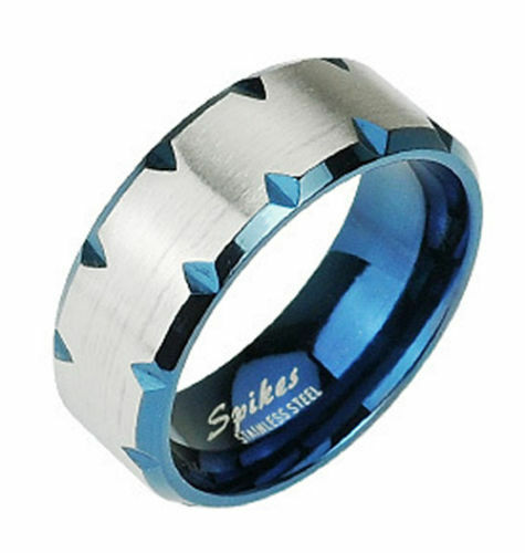 Stainless Steel Mens Womens Blue Edge Faceted Wedding Band Ring Size 5 13 1179