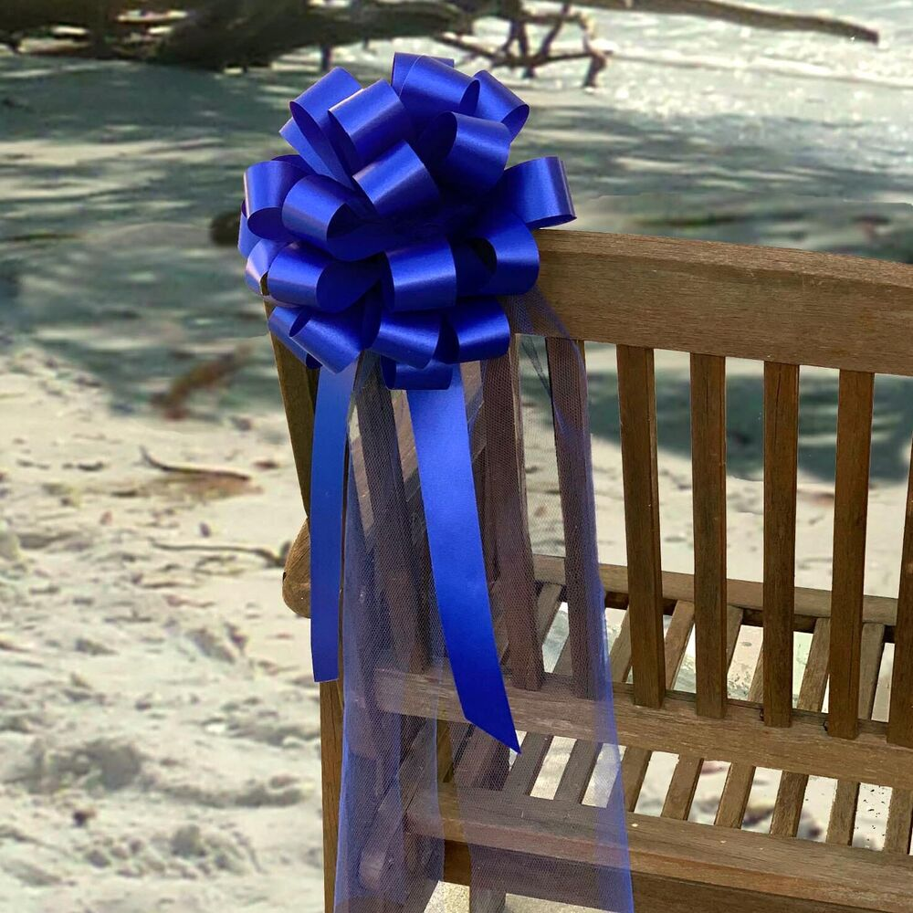 6 Royal Blue Pull Bows Wedding Pew Chair Church Graduation