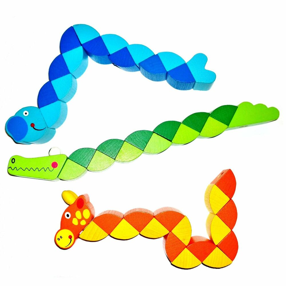 Fidget Toys For Adhd : Wooden twisty animal multicolour fidget fiddle stress