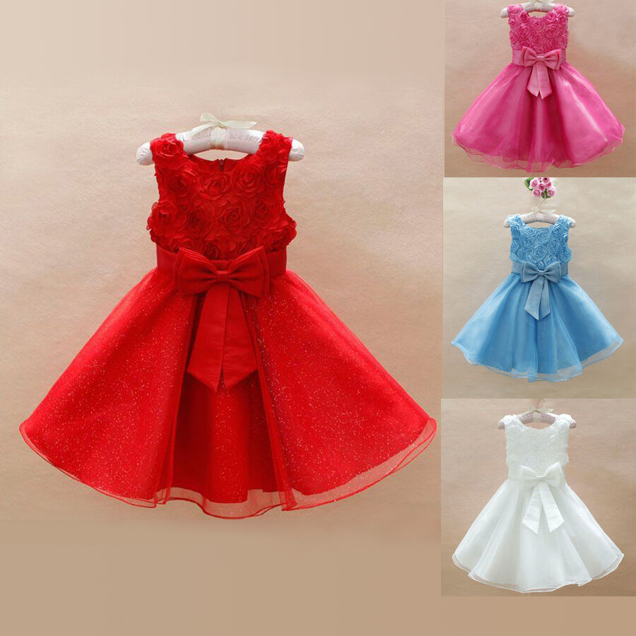 Child baby girls kids bridesmaid rose foral ball gown party tutu dress