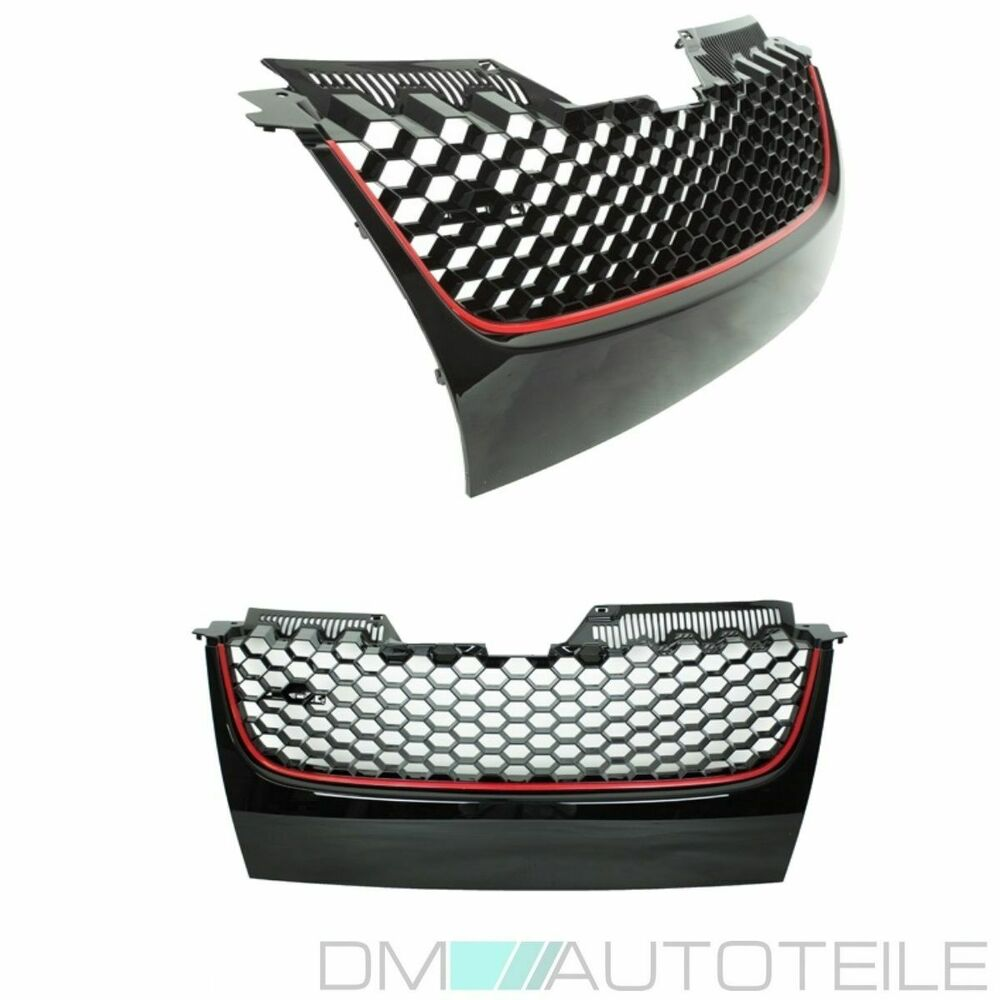 vw golf 5 v gti calandre grille en nid d 39 abeilles sans embl me baguette rouge ebay. Black Bedroom Furniture Sets. Home Design Ideas