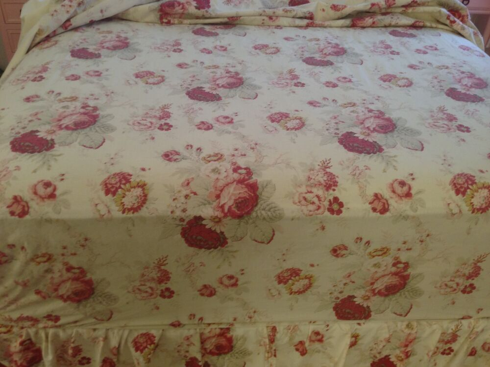 Vintage rose garden shabby chic full double fitted sheet euc ebay
