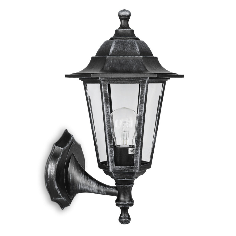 Traditional Brushed Silver / Black Outdoor Garden Wall Light Lantern Lighting eBay