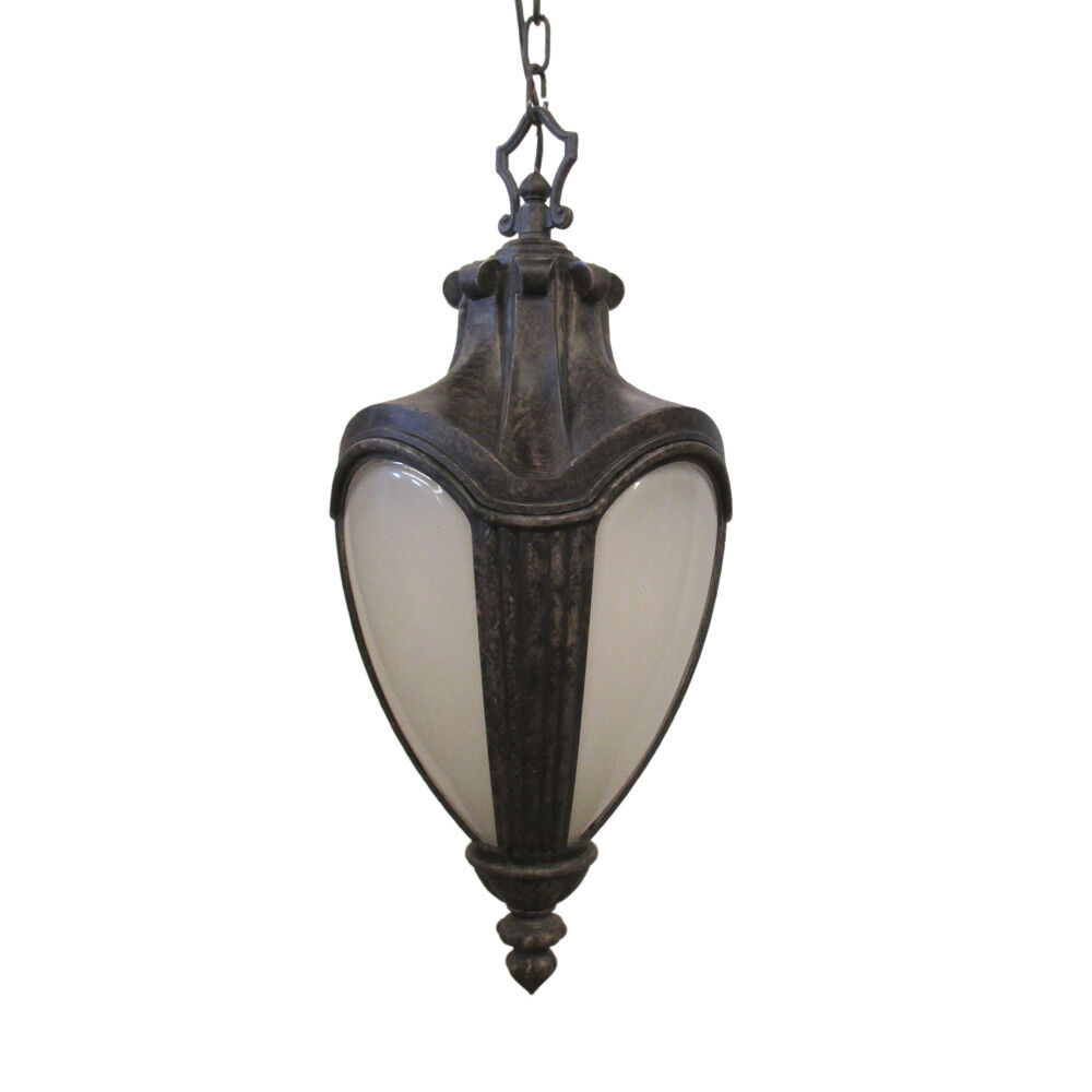 Antique Black And Etched Glass Exterior Hanging Light EBay
