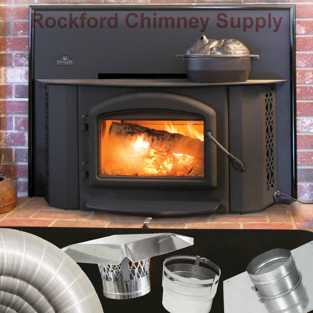 "Fully refractory lined firebox maintains the interior temperatures necessary to achieve low emissions and complete combustion. Napoleon 1402 Wood Burning Insert (heating 2000  sq. ft.) with 6"" x 20' Chimney Liner Kit. 