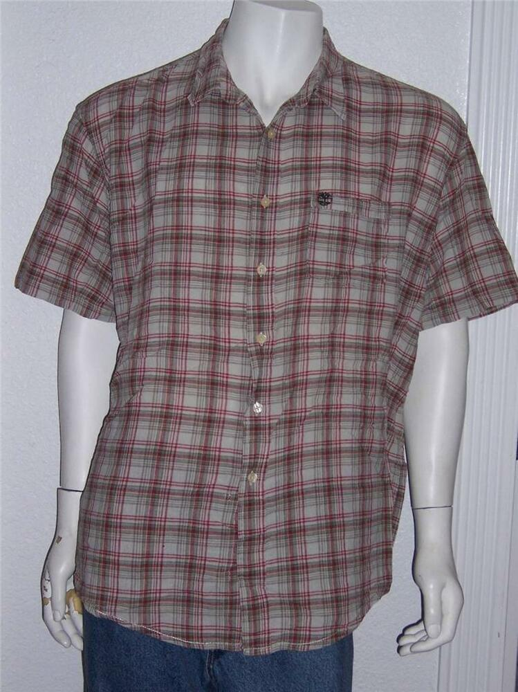 Mens timberland red tan plaid short sleeve shirt size xxl for Red and white plaid shirt mens