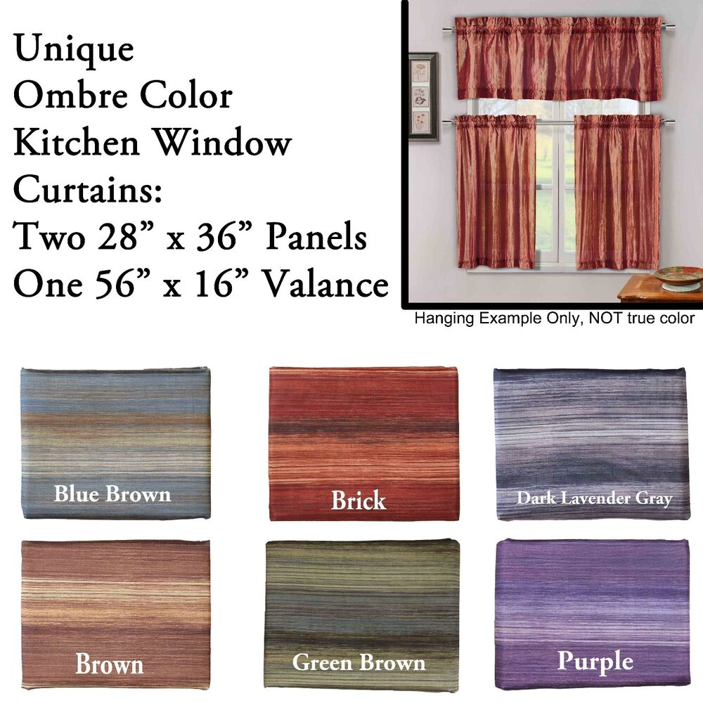 Unique Multi Color Ombre 3 Piece Kitchen Curtain Window Set | eBay