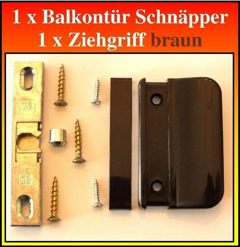 1 stck balkont r schn pper siegenia 1361 1 stck ziehgriff braun schrauben ebay. Black Bedroom Furniture Sets. Home Design Ideas