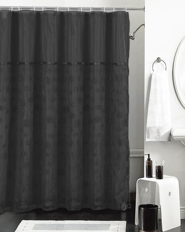 Black And Sheer Double Layer Shower Curtain With Flocked Bubble Circle Design Ebay