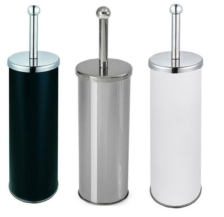 Blue canyon metal toilet brush and holder for bathroom chrome white black ebay for Black and chrome bathroom accessories