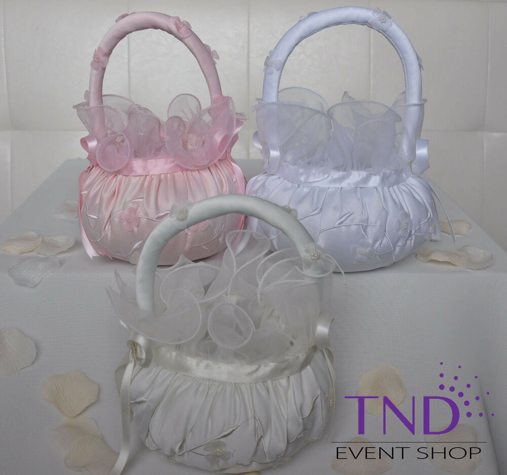 Wedding Ceremony Satin Flower Girl Basket With Organza Flowers And