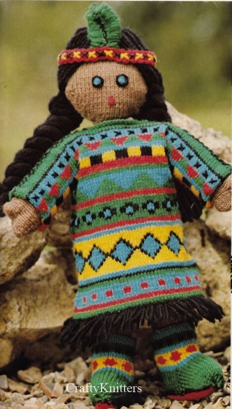 Knitting Pattern For A Lovely Red Indian Doll With Different Dress