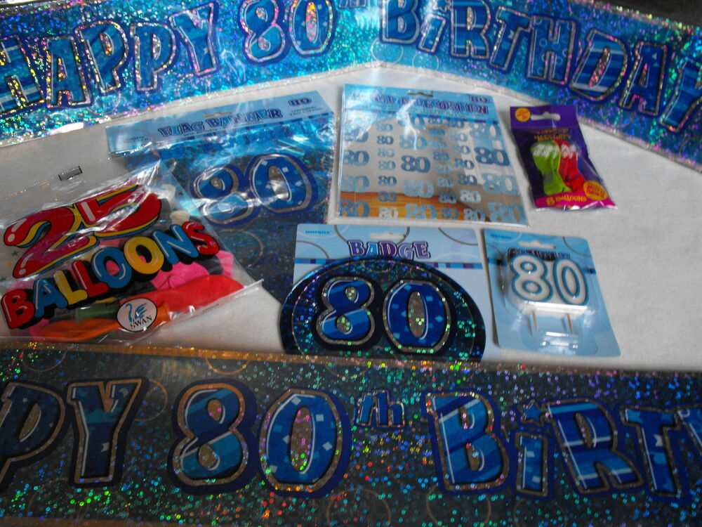 80th birthday party pack flags balloons banners mans 80th for 80th birthday party decoration