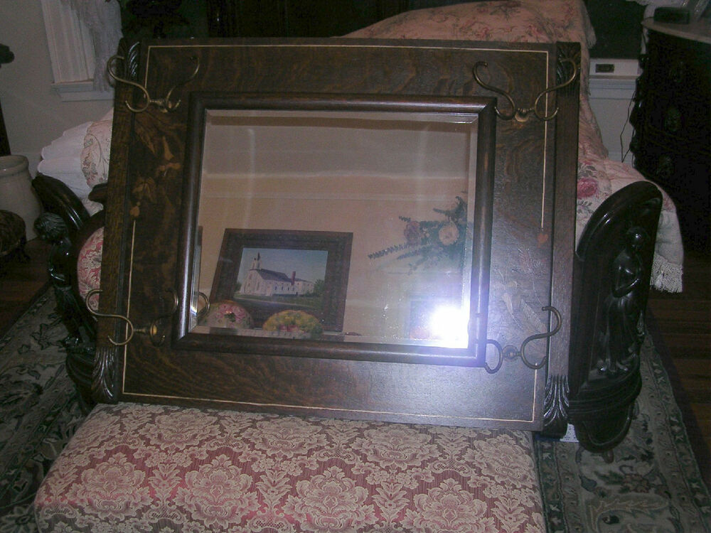 Super Antique Quartersawn Oak Inlaid Hall Wall Mirror