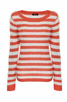 BRAND NEW LADIES EX FF LONG SLEEVE PINK/WHITE STRIPED JUMPER KNITWEAR SIZE 6-20
