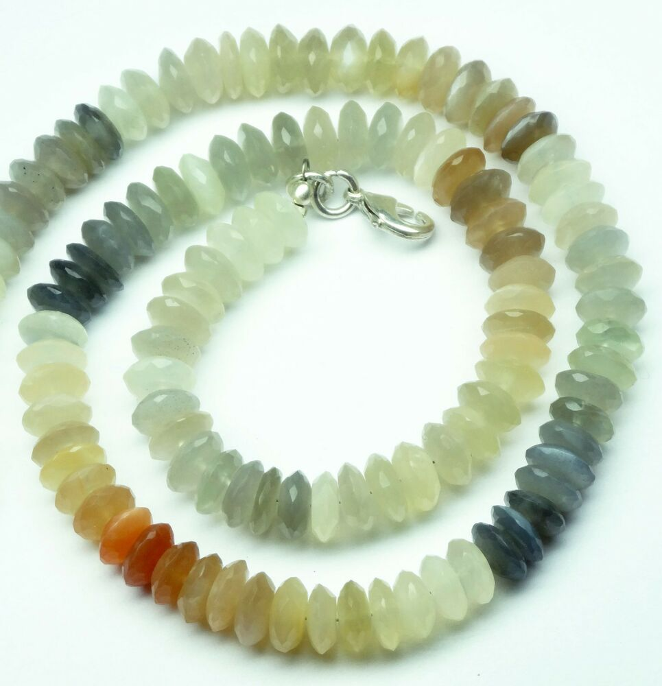 198CT. NATURAL GEMSTONE MULTI COLOR MOONSTONE NECKLACE ...