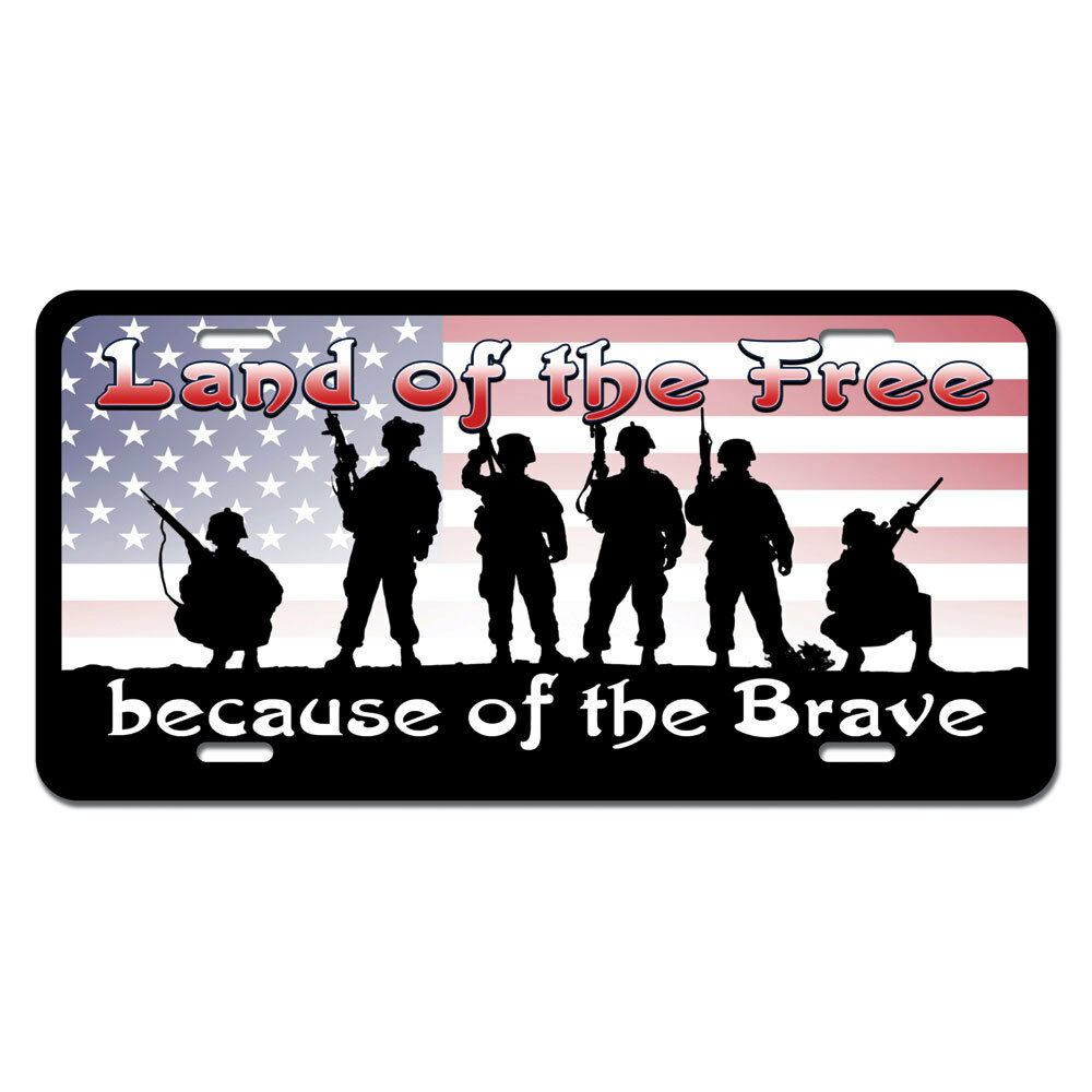 Land of the free because of the brave patriotic america usa license